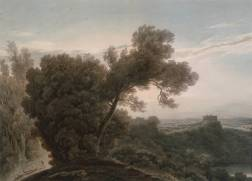 Lake of Albano and Castel Gandolfo circa 1783-8 by John Robert Cozens 1752-1797