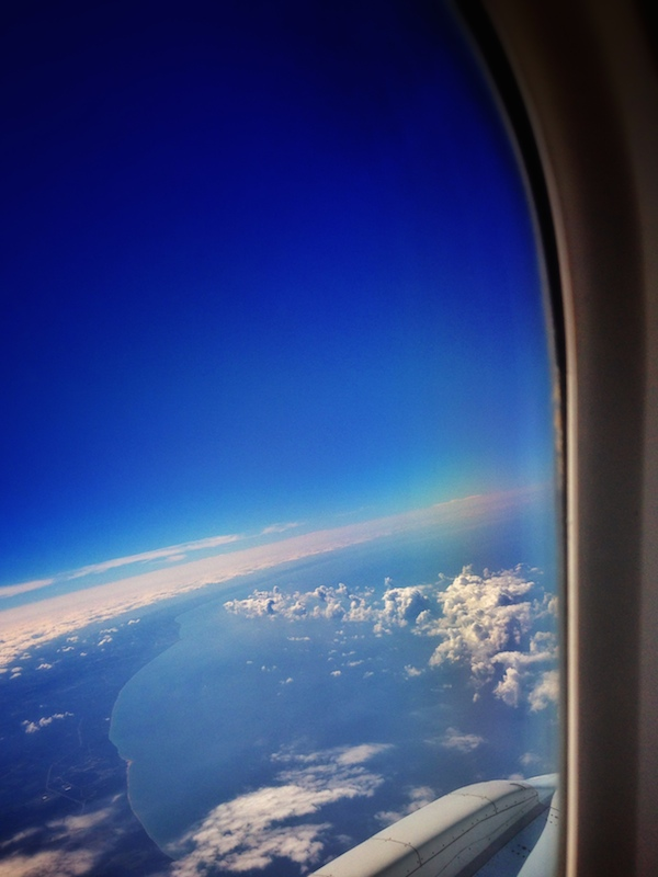 view through airplane window